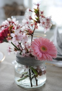 Gerbera a kvetoucí větvička v zavařovačce - jednoduché a hezké