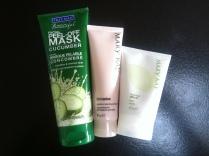 Pleťové masky - slupovací okurková, hydratační a jílová čistící